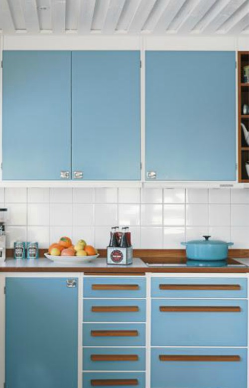 Cocinas blancas con colores - Cocinas azules y blancas ...
